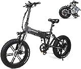 RDJM Bici electrica Suspensión de Bicicleta eléctrica 500W Completo Fat Tire E-Bici eléctrica Plegable Bicicleta con 48V de la batería de Litio for Adultos 10.4AH (Color : Black)