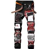 Shunht Men's Leisure Slim Fit Pattern Patch Denim Punk Rocker Biker Jeans