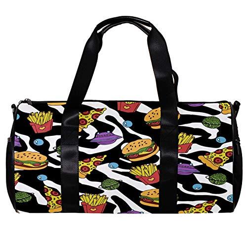 Bolsa de deporte redonda con correa de hombro desmontable para pizza, hamburguesa y papas fritas en blanco y negro estampado de cebra bolsa de entrenamiento para mujeres y hombres