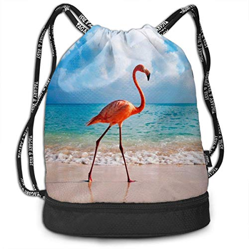Bolsas de Cuerdas,Bolsas de Gimnasia,Mochilas Tipo Casual, Women & Men Drawstring Backpack Flamingo Beach Ocean Sports Gym Travel Bundle Backpack Bag