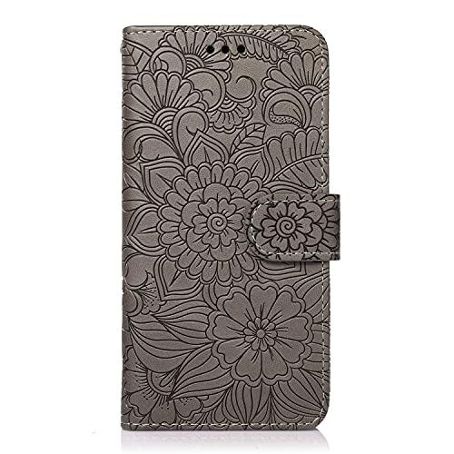 Gofrado - Funda de protección para teléfono Samsung Galaxy S7 Edge, funda con tapa antigolpes, con 3 ranuras para tarjetas y 1 bolsillo Cash, color gris