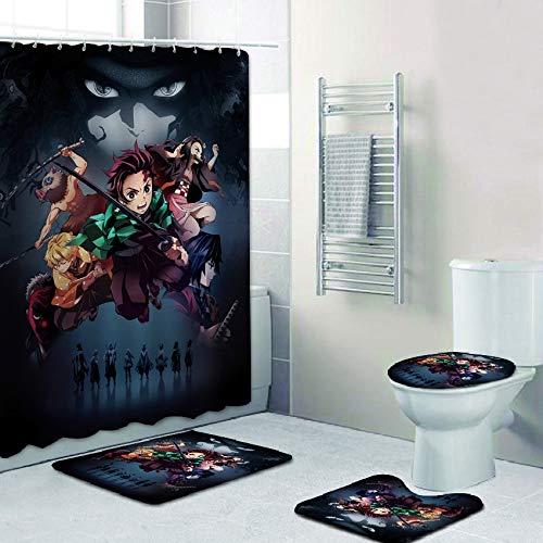 AIXIULEIDUN 4 Piece Demon Slayer Kimetsu No Yaiba Shower Curtain Set with Non-Slip Rug, Toilet Lid Cover, Bath Mat and 12 Hooks, Waterproof Shower Curtain Set for Bathroom