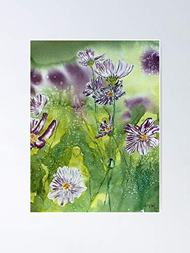 AZSTEEL Watercolor Painting «Carefree Cosmos» » Painted by Sarah L Mi-ller Poster