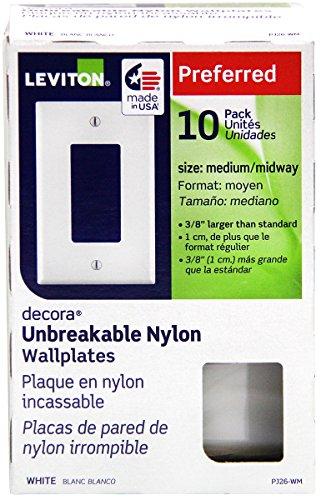 Leviton PJ26-WM 1-Gang Decora/GFCI Decora Wallplate, White, 10-Pack
