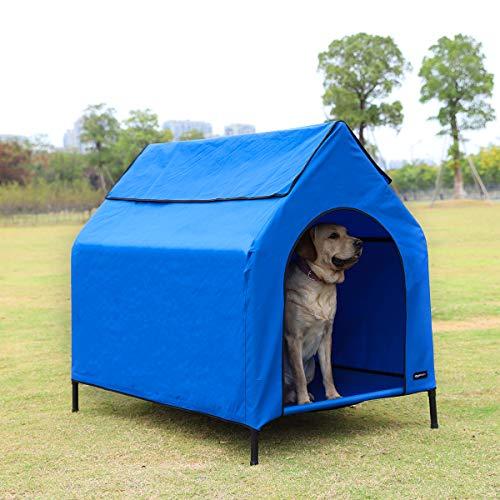 Amazon Basics Erhöhte, tragbare Haustier-Hütte, Größe L, Blau