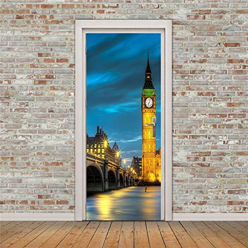 3D Etiqueta De Puerta Torre Del Reloj De Londres Luces De La Ciudad Vista Nocturna Moderna 77X200CM Diy Adhesivo Pegatina Vinilos Decorativos Para Puerta Pared Cocina Sala De Baño Mural Removible Impe