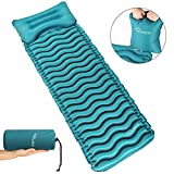 RYACO Isomatte Aufblasbare Luftmatte Ultraleicht Kleines Packmaß Camping Matratze mit Kissen und Airbag, Schlafmatte Luftbett für Outdoor, Reise, Strand, wandern, Trekking und Backpacking