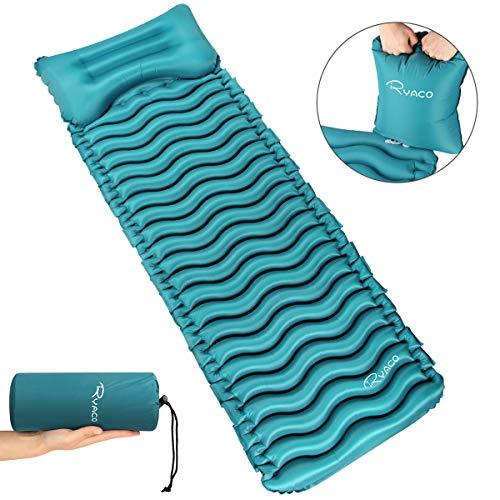 Ryaco Opblaasbare luchtmat, ultralicht, klein pakformaat, campingmatras met kussen en airbag, slaapmat, luchtbed voor outdoor, reizen, strand, wandelen, trekking en backpacking