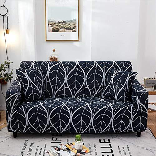 Funda elástica para sofá impresa, funda de sofá para sofá, sillón, sala de estar, protector universal de muebles (ramas blancas y negras, 2 plazas)