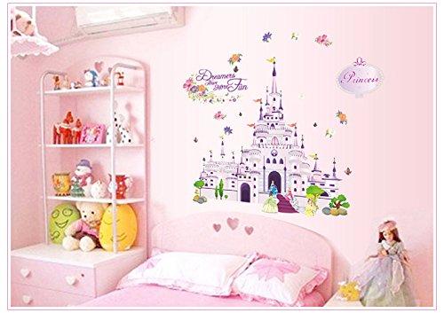 WallPicture Art Autocollant mural château de princesse en vinyle pour chambre d'enfant Motif fleurs et Papillons A0002TX XMK-Papier peint