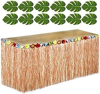 Adorox 12 pc Tropical Green Leaves included 1 Hawaiian Luau Hibiscus Brown Table Skirt (9 ft)