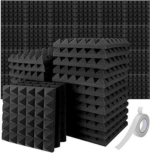 TBCWRH Pannelli Fonoassorbenti,24 Pezzi Pannello Fonoassorbente per Podcasting,Pannelli Isolamento Acustico Studi di Registrazione, Uffici, Home Learning,Insonorizzazione Stanza 30 * 30 * 5cm