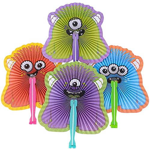 Kicko 10 Inch Folding Monster Paper Fan - 12 Pieces of Accordion Style Assortment - Perfect for Halloween, Festival, Birthday, School Events, Party Favor and Supply