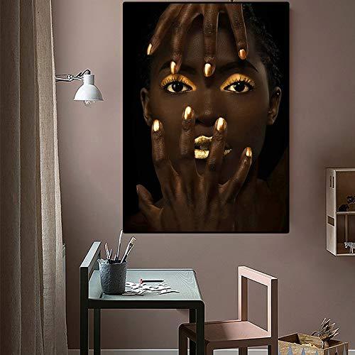 Leinwanddrucke Afrikanische Kunst Frau Wandkunst dekorative Bild Wohnkultur Wohnzimmer Sofa Wanddekoration 70x100cmRahmenlose Malerei