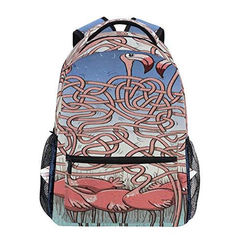 Backpack Laptop Bag,Funny Tropical Flamingos College School Book Bag iPad Children Backpacks 40cm(H) x29cm(W)