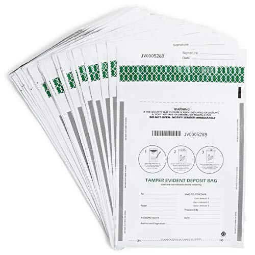 100 Pack Bank Deposit Bags, Tamper Security Self Seal (Clear, 13×9 inches)