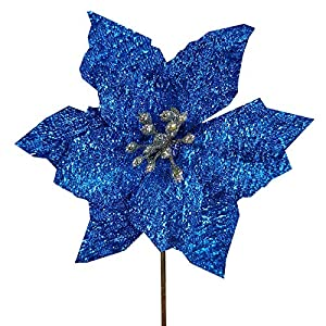 Winlyn 24 Pcs Christmas Glitter Poinsettia Flowers Picks