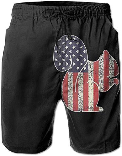 Pantalones Cortos de Playa de Verano con Estampado de Ardilla Americana para Hombre, Bolsillos con Forro de Malla para papá