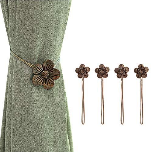 Lewondr Vintage Magnetischer Vorhang Raffhalter, 2 Paar Harz Blume Vorhangschnalle mit starkem dauerhaftem Magneten für Dekoration Zuhause Cafe Büro - Kaffeebraun