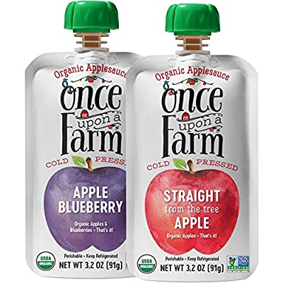 Once Upon a Farm Organic Kids | Applesauce Food Pouch | Cold Pressed | Refrigerated | Suitable for All Ages | Variety Pack of 24