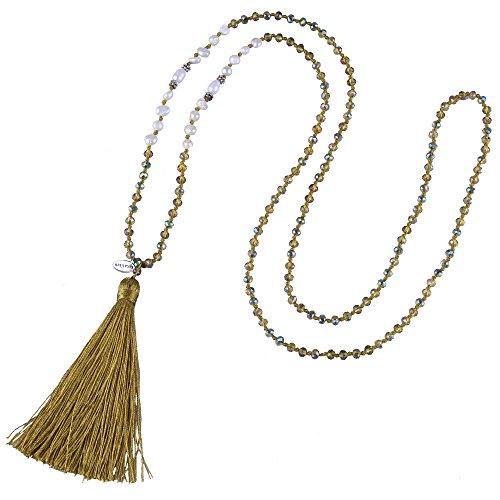 KELITCH Tasselkette Bohemian Perlmutt Kristall Perlen Quaste Anhänger Halskette Damen Lange Kette (Zimt-Gelb)