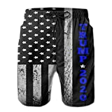 Shuwekk Mens Trump 2020 Thin Blue Line Swim Trunks Printed Beach Shorts Quick Dry Summer Boardshorts with Mesh Lining
