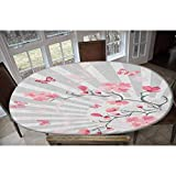 Elastic Polyester Fitted Table Cover,Cherry Blooming Butterflies on Stripes Sun Rays Curvy Lines Ornamental Artwork Decorative Oblong/Oval Dinner Fitted Table Cloth,Fits Tables up to 48' W x 68' L