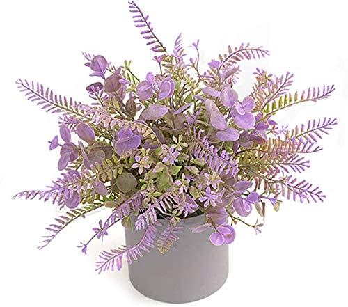 Arbustos Artificiales en macetas, pequeñas Plantas Verdes Falsas con Maceta de Pulpa, Mini helechos Bonsai Plantas suculentas para