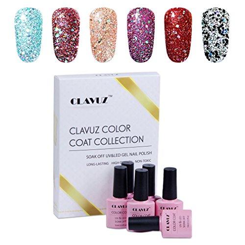 CLAVUZ Gift Set - Smalto Semipermanente, UV LED Soak Off Gel Polish, Set Kit da 6Pz con Gift Box(6 Colori Gel), Colori Fissi, Multicolori da Scegliere, VU/LED Ricostruzione Unghie Arte - 10ML