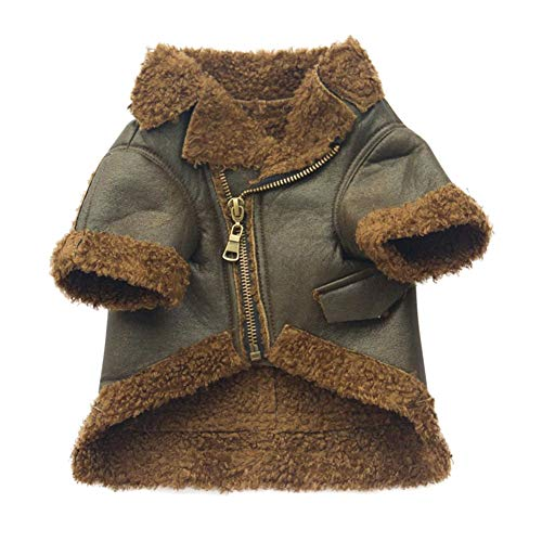 ROPALIA Pet Plus Velvet Leather Jacket Pet Autumn and Winter Warm Zipper Clothing Thicken Clothing Jacket Zipper