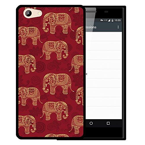 WoowCase Doogee Y300 Hülle, Handyhülle Silikon für [ Doogee Y300 ] Indischer Stil mit Elefanten-Muster Handytasche Handy Cover Case Schutzhülle Flexible TPU - Schwarz
