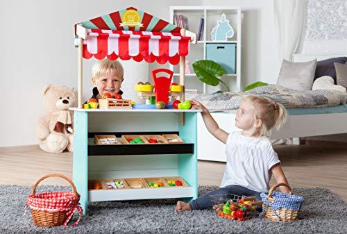 John 40823 2 IN 1 Kaufladen Kasperltheater Puppentheater in rot weiß Abmessungen 60 x 30 x 100 cm