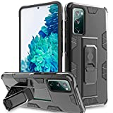 AMENQ Case for Samsung s20 fe Phone, Galaxy s20 fe 5g Case, Dual Layer Metal Ring Built-in Phone Holder Heavy Duty Protective with TPU Bumper and Rugged PC Armor Phone Cove (Black)