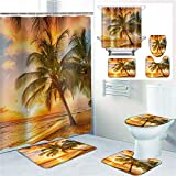 Palm Tree Shower Curtain Sets with Rugs and Toilet Cover Bath Mat 4-Piece Set,Beach Theme Palm Trees in The Evening Sunset, Waterproof Polyester Cloth Fabric Bathroom Decor Set with Hooks