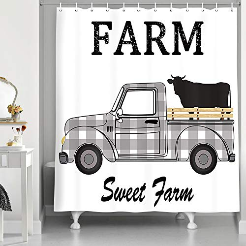 Rustic Black and White Plaids Farmhouse Cattle Truck Shower...