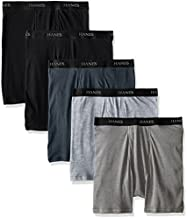 Hanes Men's 5-Pack Sports-Inspired Cool Dri Boxer Brief, Black & Grey, Large