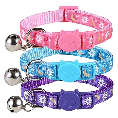 3 collares de gato con hebilla de seguridad, gatitos cachorros, collar de 18 cm - 28 cm ajustable antiestrangulación con Campanilla y sol la luna, color rosa, azul, morado