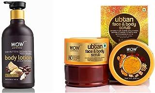 WOW Shea Butter and Cocoa Butter Moisturizing Body Lotion, Deep Hydration, 300ml & WOW Skin Science Ubtan Face & Body Scru...