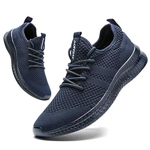 FUJEAK - Zapatillas de running para hombre, ideales para carretera, ligeras, transpirables, para gimnasio, tenis y fitness, diseño informal, cómodas, cordones actuales, color Azul, talla 42.5 EU