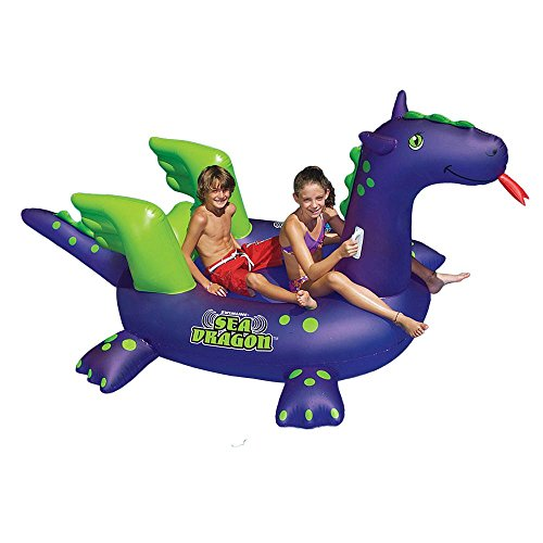 Swimline Giant Sea dragon Inflatable Ride-On Pool Float, blue/green, 115-inch long