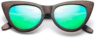 7c9cb097f8 Gafas Gafas de Sol de Madera de bambú para Hombres Ojo de Gato Marco  Redondo Moda