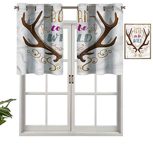 Hiiiman Cortinas pequeñas para ventana, decoración del hogar, texto en inglés 'Born to Be Wild', juego de 2, 54 x 24 pulgadas, para cocina, comedor, habitación de niñas, filtro de luz