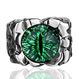 Men's Women's Stainless Steel Ring Gothic Green The Devil's eye Retro Jewelry Size 8