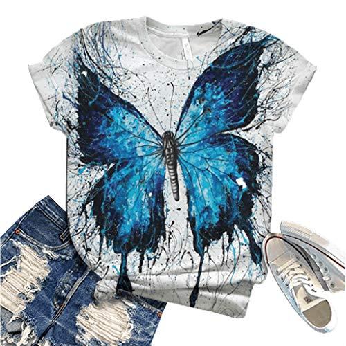TOPEREUR Damen T-Shirt, Kurzarm Shirts mit Schmetterling Print, Rundhals Casual Oberteile Perfect Tops Tee Sommer Kurzarmshirt Sweatshirt Bluse