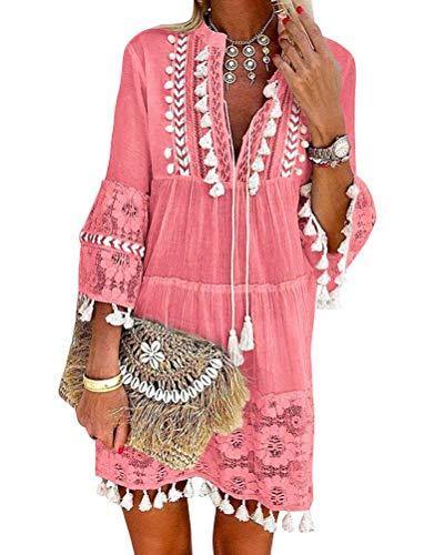ORANDESIGNE Damen Kleider Strand Elegant Casual A-Linie Kleid Langarm Sommerkleider Boho V-Ausschnitt Quaste Tunika Mini Kleider A Hell Pink 34