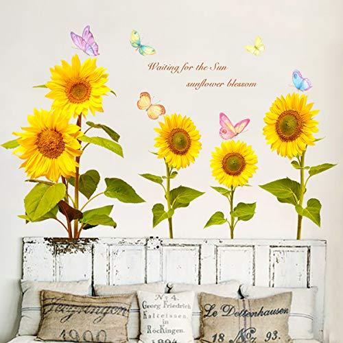 VASZOLA DIY Aquarell Sonnenblume und Schmetterling Blätter Groß Wandtattoo Wandaufkleber Tropischer Pflanzen Grüne Pflanze Blätter Wandsticker Wanddeko für Wohnzimmer Schlafzimmer Flur Kühlschrank