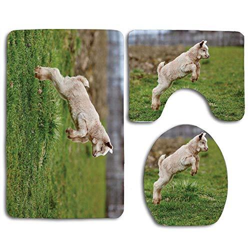 Trista Bauer Animaux de la Ferme bébé chèvre sautant Autour de Jouer au Printemps Flou Fond 3pcs Set Tapis Tapis
