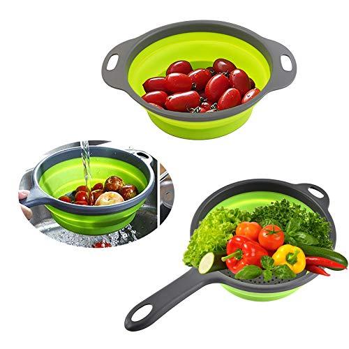 Seiher Sieb, 2 Stück Spülbeckensieb Silikon-Korb Sieb, Küchensiebe Sink, Platzsparend, schnelle Entleerung für Küchenarbeiten Ideal zum Abtropfen von Gemüse, Obst, Nudeln usw.