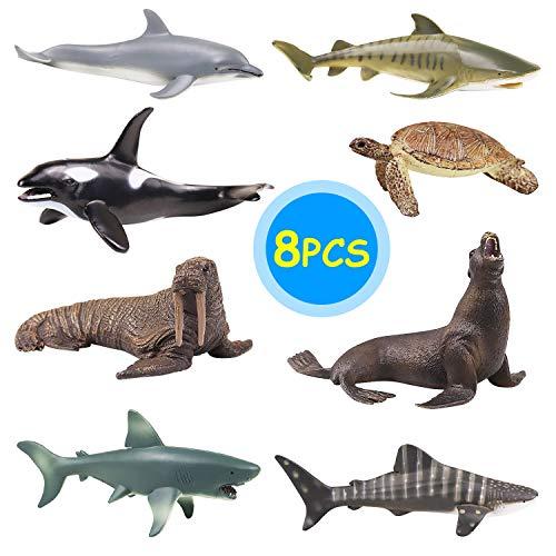 YIJIAOYUN Stampo in plastica per Animali di Grande Formato da 8 Pezzi Stampo in plastica da 6 'educativo per Bambini (orche assassine, Leoni marini, Tartarughe Marine, Delfini)