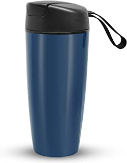 Ceramic Spill Proof Travel Mug Ceramic Lined Coffee Mug On the Go Travel Coffee Tea Mug with Lid and Handle 16 Ounce Office Mug Blue